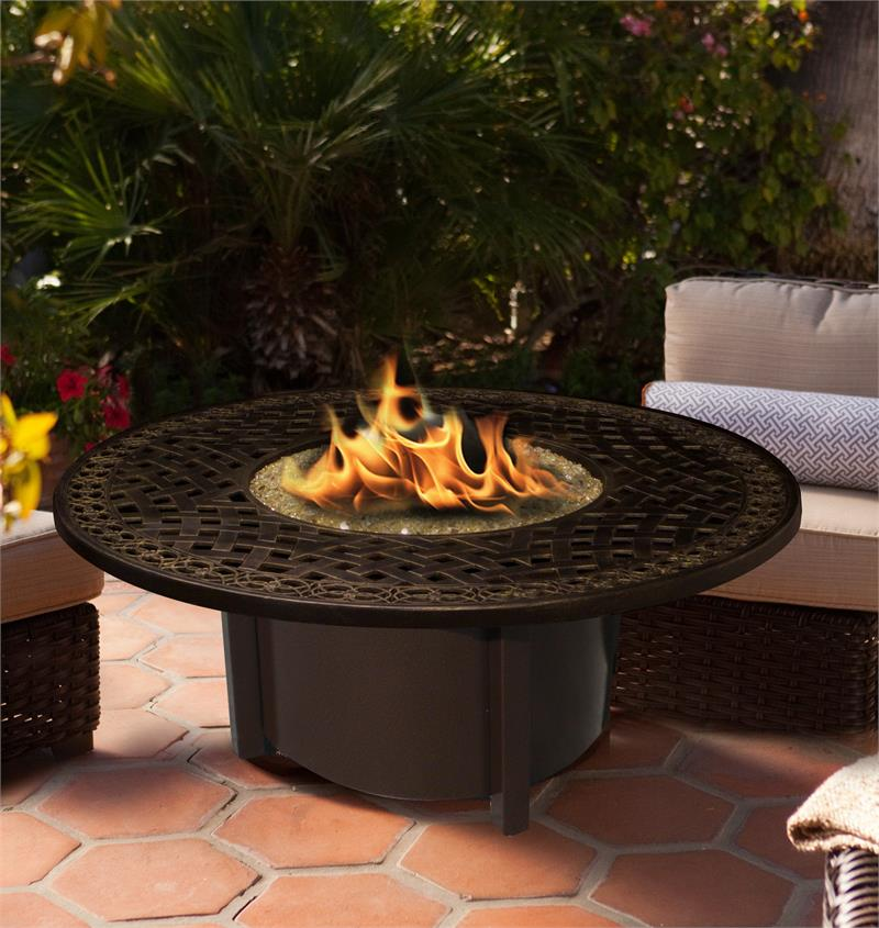Fire Pit Table Outdoor Carmel Round Chat Height with American Fire Glass