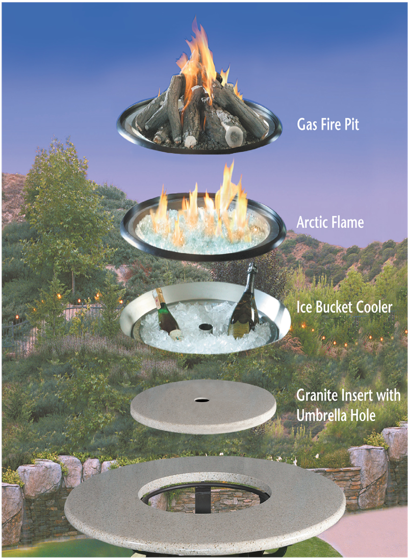 La Costa Dining Height Outdoor Gas Logs Fire Pit Table