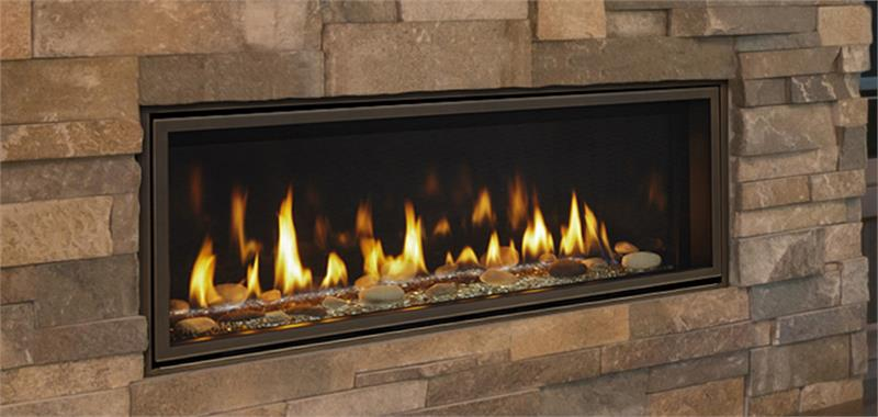 "Echelon II Direct Vent 48"" Majestic Gas Fireplace. Making memories starts with something special. The exclusive Echelon II series gas fireplace creates a place to relax and enjoy life. Active flames and interior options give this contemporary fireplace a unique look. Get lost in its fire and the brilliance of glass illuminated by lights. Come home to the single-sided or see-through Echelon II series gas fireplace"