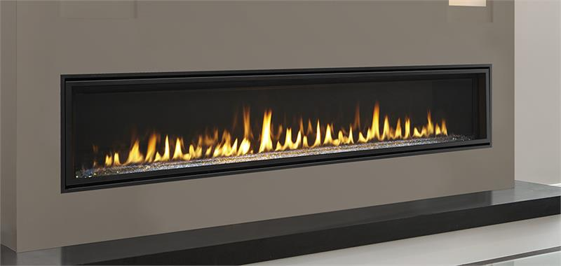 "Echelon II Direct Vent 72"" Majestic Gas Fireplace. Making memories starts with something special. The exclusive Echelon II series gas fireplace creates a place to relax and enjoy life. Active flames and interior options give this contemporary fireplace a unique look. Get lost in its fire and the brilliance of glass illuminated by lights. Come home to the single-sided or see-through Echelon II series gas fireplace"