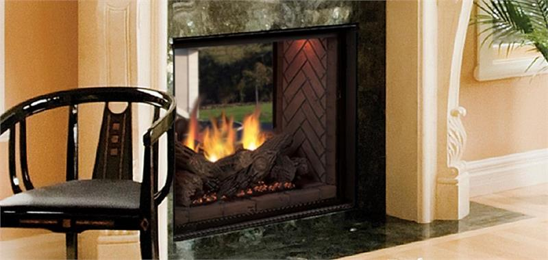 "See Thru 48"" Direct Vent Marquis Clear View Majestic Fireplace.This specialty option gives you the ability to enjoy the beautiful"