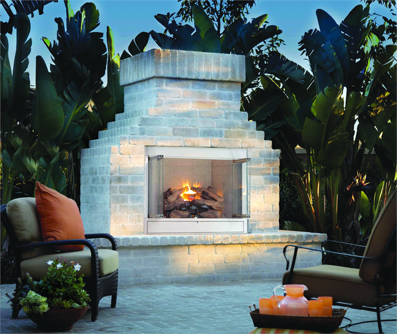 "42"" O42 Alpine Outdoor Stainless Steel Vent Free Gas Fireplace Hearth Refractory Brick Liner"