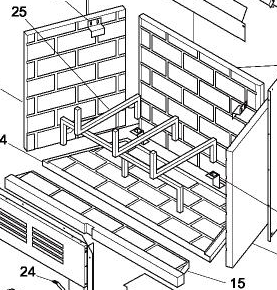 106969-01 Brick Liner Refractory Rear Panel
