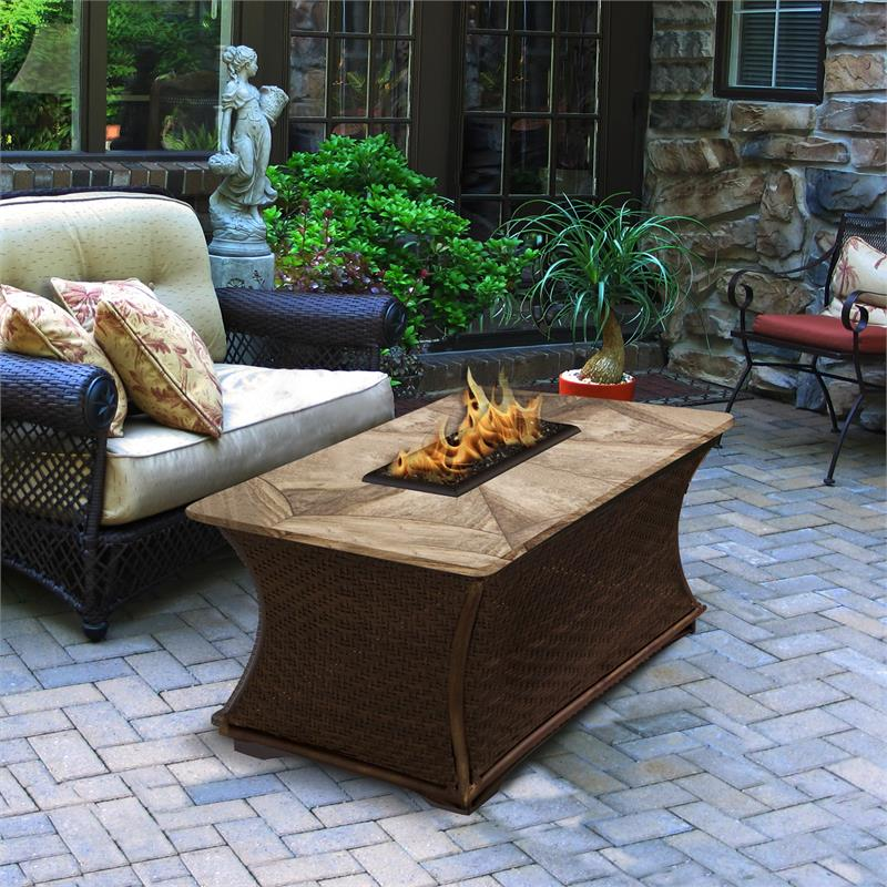 Outdoor Gas Fire Pit Coffee Rectangle Fire Pit Table