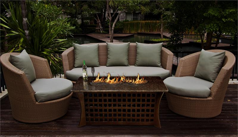 Outdoor Fire Pit Coffee Table La Costa Del Rio With Serpentine Burner