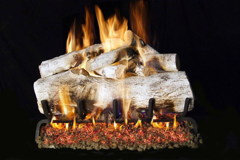 Mbwg46 30 Peterson Real Fyre Mountain Birch Vented Gas Logs Set With G46 Series Burner