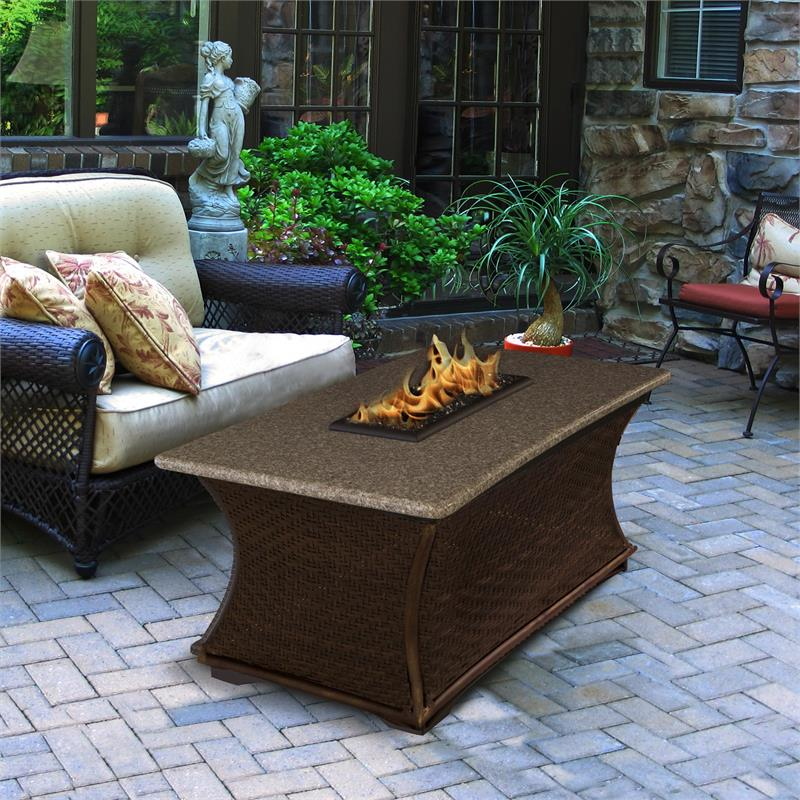 Pebble Stone Outdoor Coffee Table: Outdoor Gas Fire Pit Coffee Rectangle Fire Pit Table