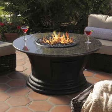 San Simeon Chat Height Multifunctional Reflections Glass Fire Pit ...