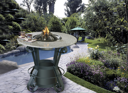 Olano Bar Height Outdoor Gas Log Fire Pit Table