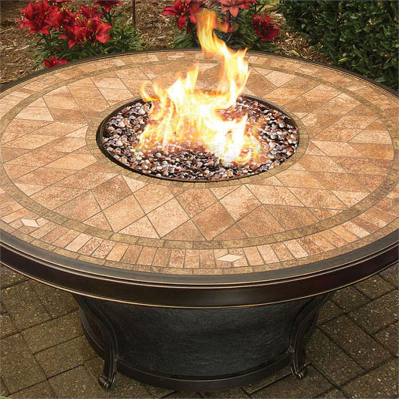 Exceptional Mosaic Tile Fire Pit Part - 8: Tahoe Fire Pit Table With Mosaic Pattern Porcelain Tiled Top