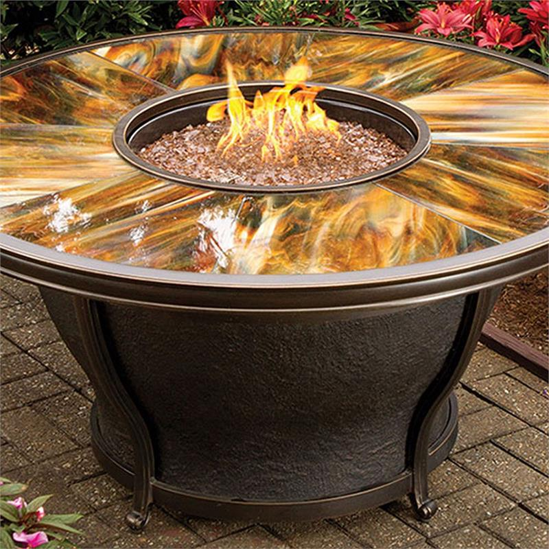 Tioga Outdoor Gas Fire Pit Table With Stained And Sealed