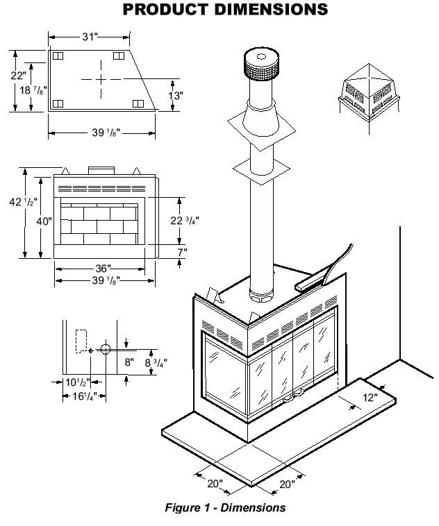 diagram of a wood burning fireplace
