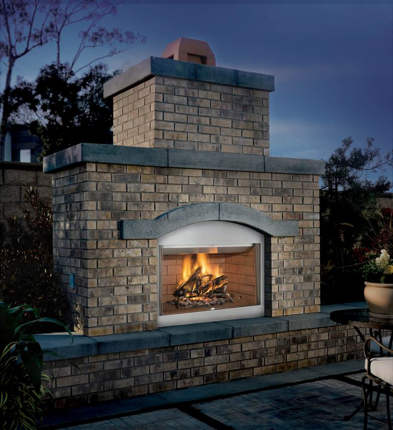 "Outdoor Wood Burning 42"" WRE3042 Superior Fireplace Hearth by Superior. The WRE3000 series wood burning fireplaces offers the choice of red or white refractory panels in stacked or herringbone patterns. Standard features include: hidden screen pockets"