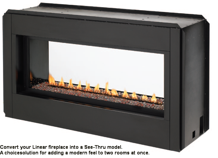 VLVF43 Luminary Linear Vent Free Gas Fireplace installed without trim - Superior 43