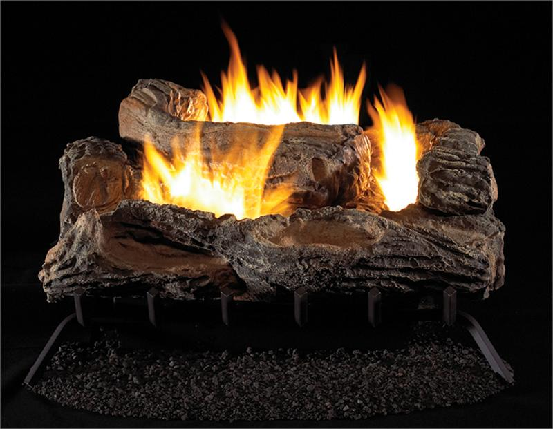 Vym27 Vent Free Gas Logs Vintage Oak Multi Sided Back View