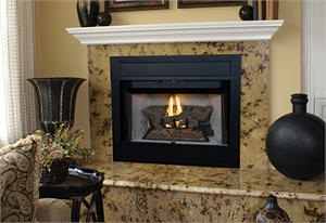 "B-Vent Superior BRT4536 36"" Custom Series Gas Fireplace with Red or White Herringbone Panels. The BRT4000 B-Vent Fireplaces feature multidimensional refractory log arrangement and deep glowing ember bed. An aluminized ""U"" tube dual burner provides real wood-fire ambiance with 40"