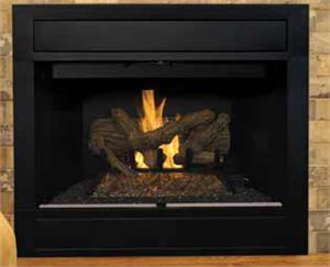 "B-Vent Superior BRT4036 36"" Custom Series Radiant Gas Fireplace with Black Interior and White Hearth. The BRT4000 B-Vent Fireplaces feature multidimensional refractory log arrangement and deep glowing ember bed. An aluminized ""U"" tube dual burner provides"