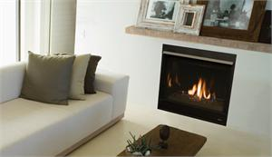 "DRC3500 45"" Direct Vent Gas Contemporary Glass Media Complete Fireplace"