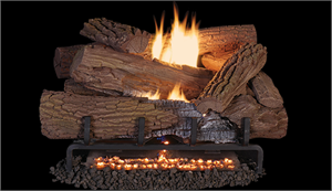 "30"" Indoor Mossy Oak Concrete Gas Log Set Vent Free w/ Mega Flame Burner"