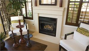 BCT2536 B-Vent Superior Fireplace shown with optional trim and mantel
