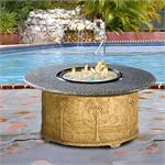 Palm Chat Height Multifunctional Reflections Glass Fire Pit Table