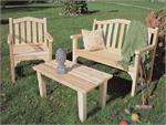 Camel Back Chair and Settee with English Garden Table Outdoor Seating Set