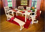 Dining Table Solid Top Six Piece Set Rustic Cedar Indoor Dining Furniture