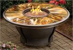 Tioga Outdoor Gas Fire Pit Table with Stained and Sealed Glass Top