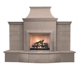 Outdoor Grand Petite Cardova Fireplace Shown in Smoke