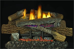 "Boulder Mountain Concrete Gas Log Set 18"" with Glowing Superior Vent Free Gas Burner"
