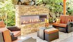 "Outdoor Linear 72"" Fireplace with Crushed Glass and LED Interior Lights and See Thru Option VRE4600 VRE4672"
